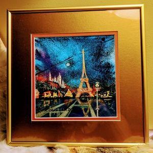 Paris: Watercolor Print, Brushed Gold Frame